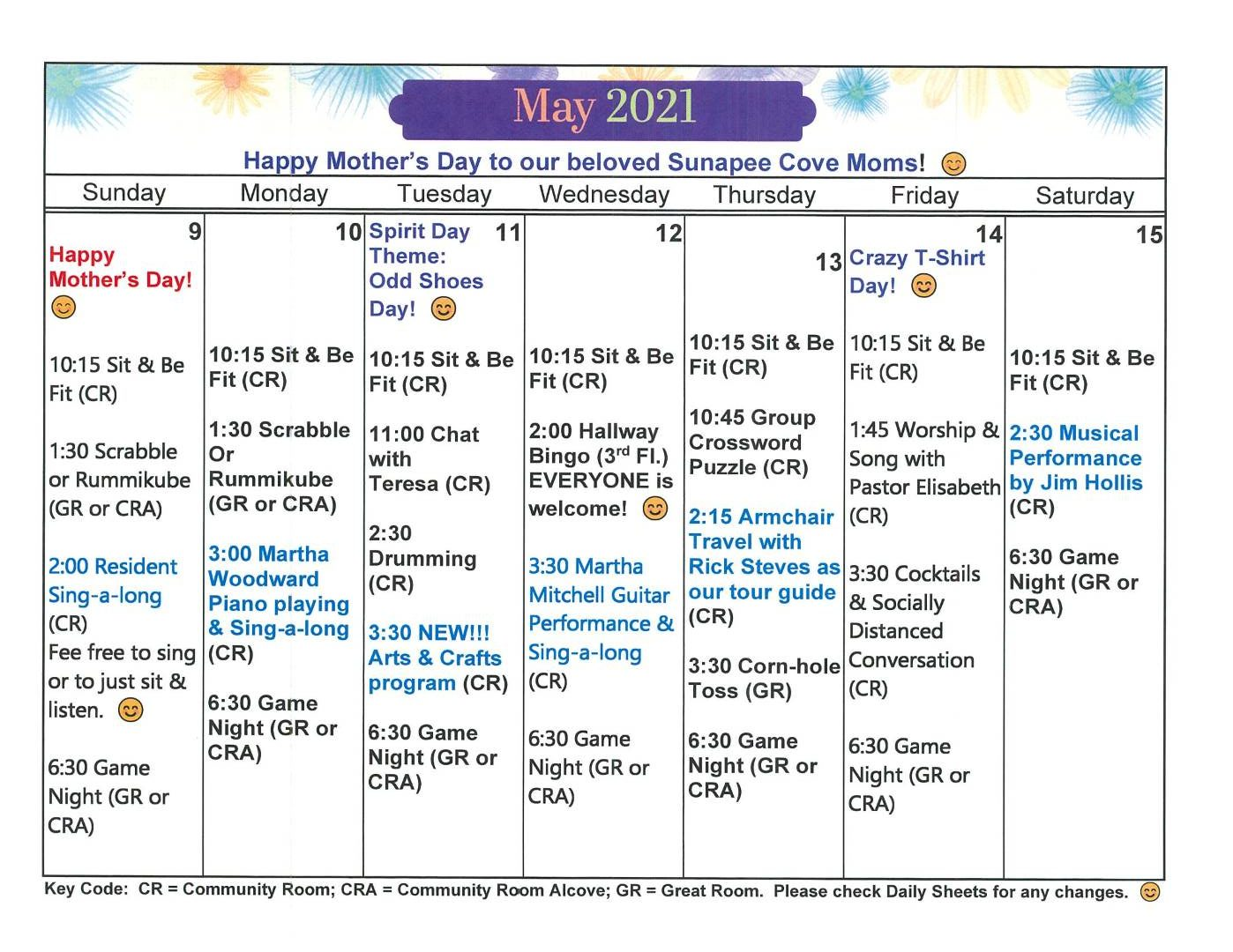 Activity Calendar May Week 2 2021