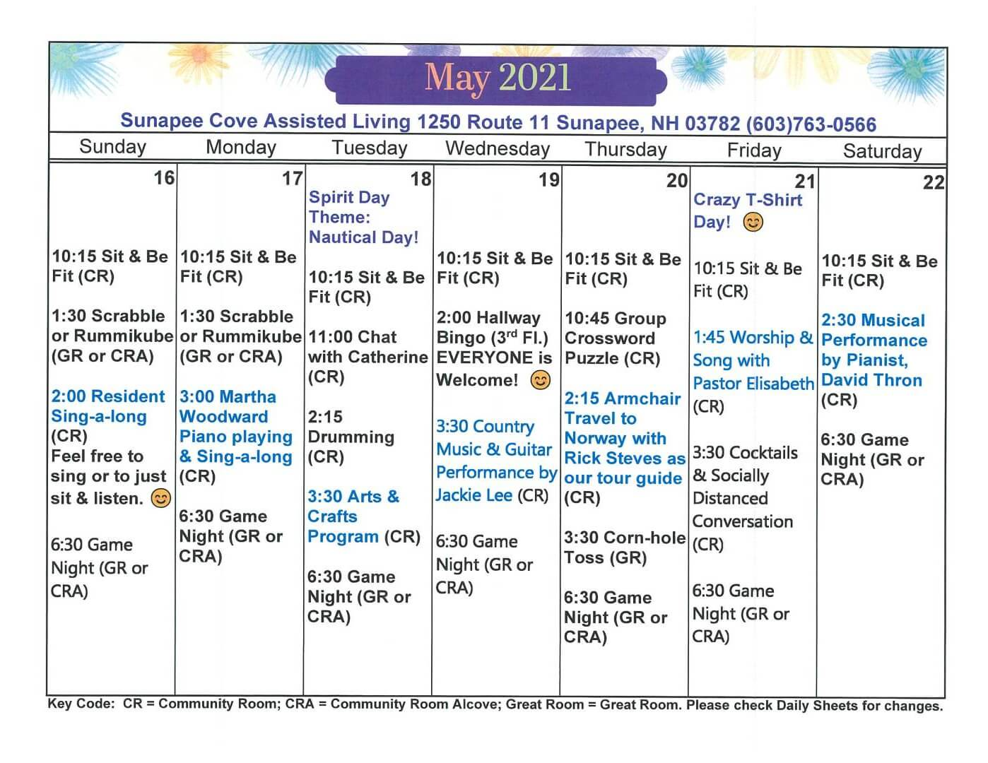 Activity Calendar May Week 3 2021