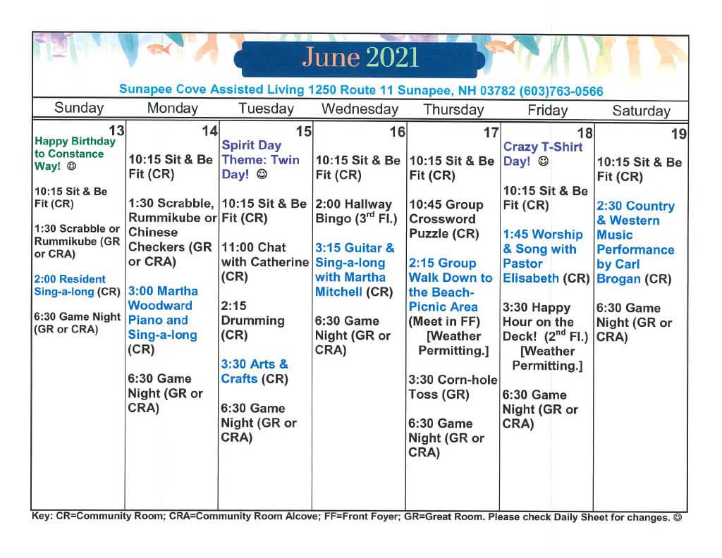 Sunapee Cove Calendar June 13-19