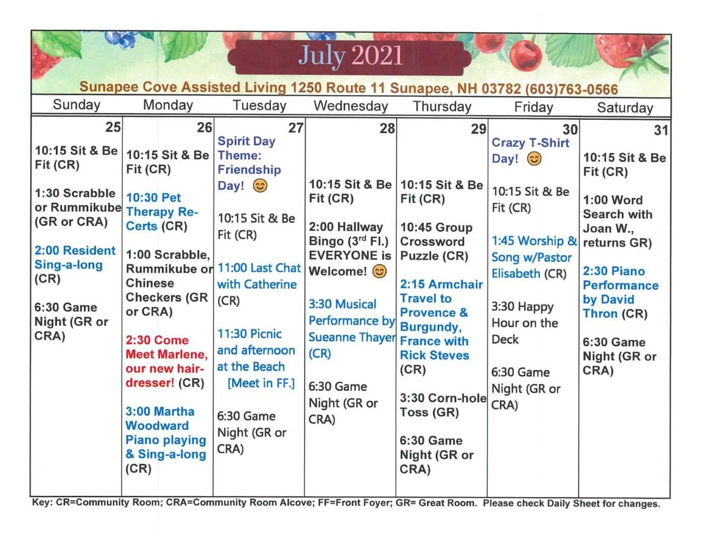 July 2021 Activity Calendar - 25-31